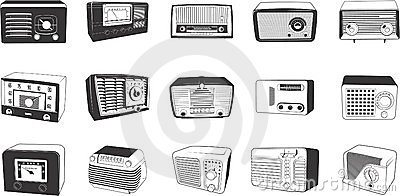Retro radios illustrations