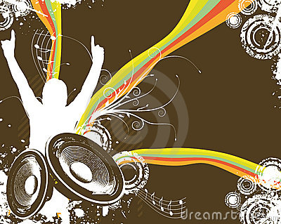 Retro Rainbow Music Fan