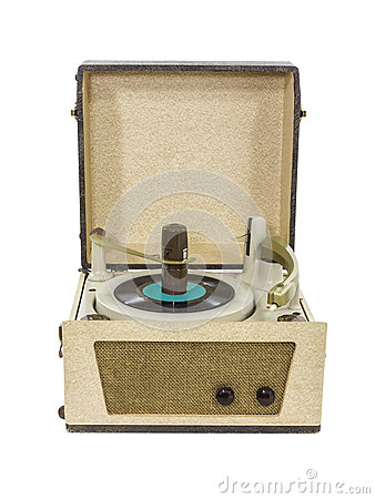 Retro Record Player from the 1960 s Isolated
