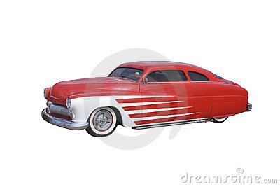 Retro red and white coupe
