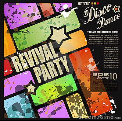 Retro  revival disco party flyer