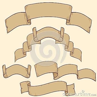 Retro ribbon banner set design element