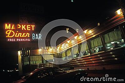 Editorial Photo: Retro Vintage American Diner and jukebox