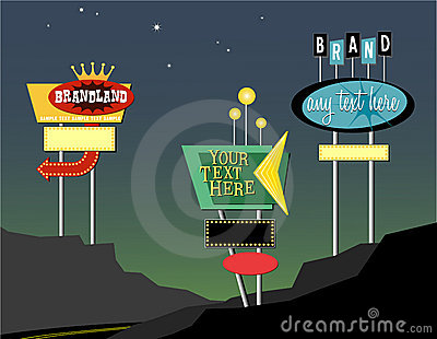 Retro roadside signs