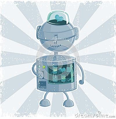 Retro robot automate in vector