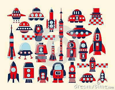 Retro rocket icons set element