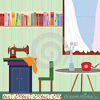 Free Retro Room Interior With Sewing Machine And Phone Royalty Free Stock Photography - 55330497
