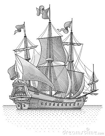 Retro sail ship vector