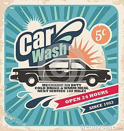 Retro samochodowego obmycia plakat