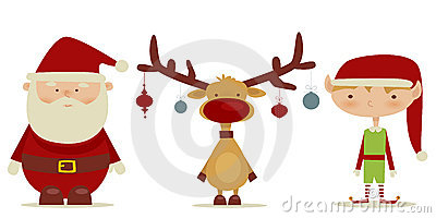 Retro Santa claus, Elf, Rudolph