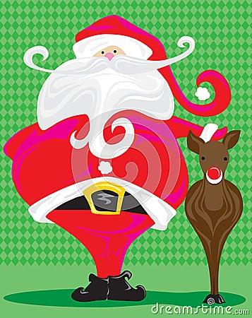 Retro Santa and Rudolph