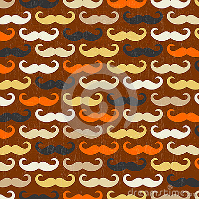 Retro seamless pattern with mustache