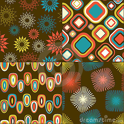 Retro - seamless pattern set
