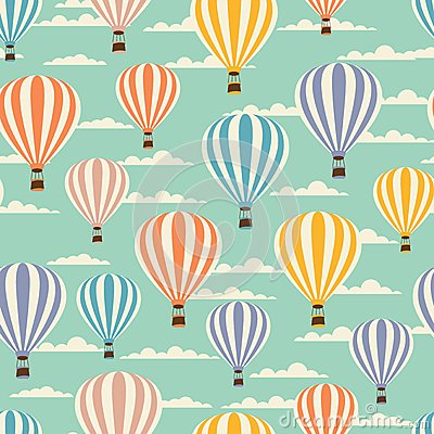 Free Retro Seamless Travel Pattern Of Balloons Royalty Free Stock Photography - 51135697