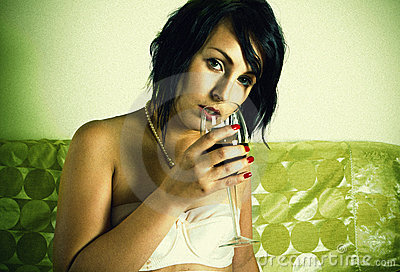Retro sensual woman with red wine glass