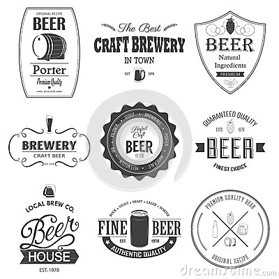 Free Retro Set Styled Label Of Beer. Stock Photos - 50009193