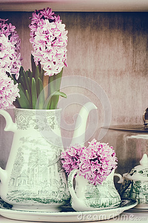 Free Retro Setting With Pink Hyacinths Royalty Free Stock Photography - 40055347