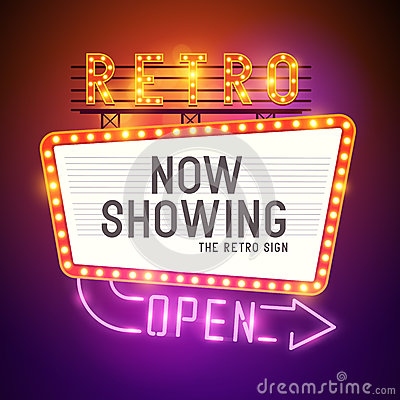 Free Retro Showtime Sign Vector Stock Photography - 42793082