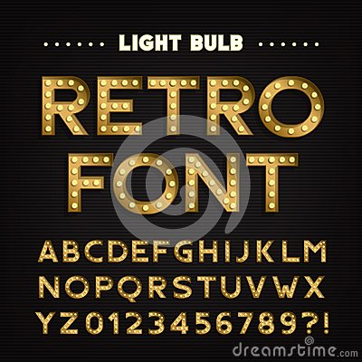 Free Retro Sign Alphabet. Vintage Light Bulb Type Letters And Numbers. Signboard Font. Stock Image - 101535871