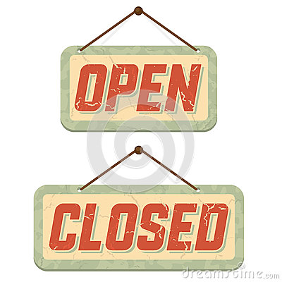 Retro signs Open and Closed