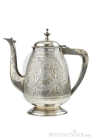 Free Retro Silver Teapot, Jug Isolated Royalty Free Stock Image - 25176706