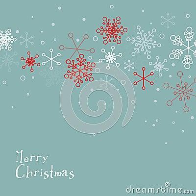 Retro simple Christmas card with snowflakes