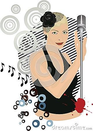 Retro singing girl