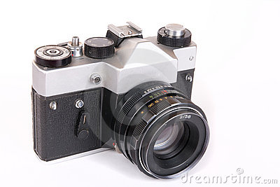 Retro SLR camera with portrait lens