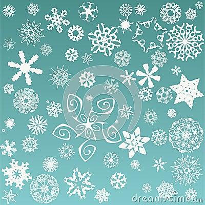 Retro snowflakes background
