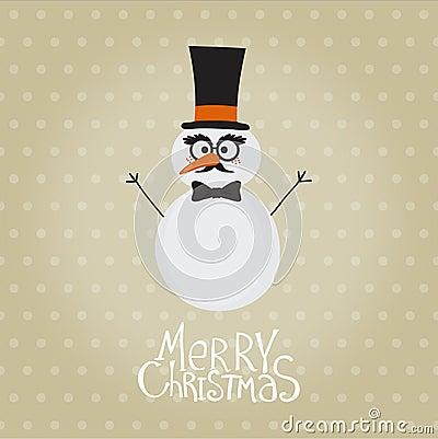 Retro Snowman with Mustache