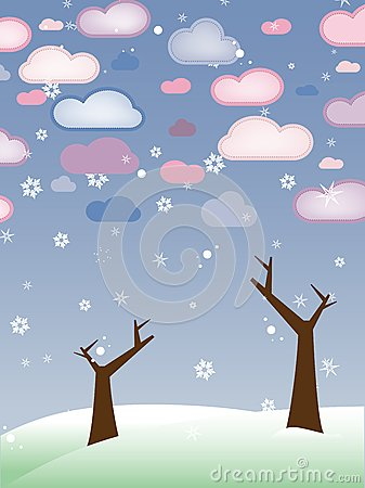 Retro Snowy Landscape with Leafless Trees Winter