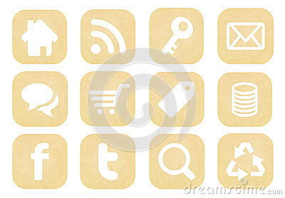 Retro social media icons collection