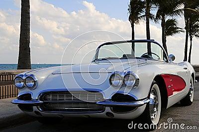 Retro Sports Car At the Beach