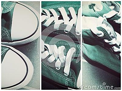Retro sports shoe sneaker lace ups