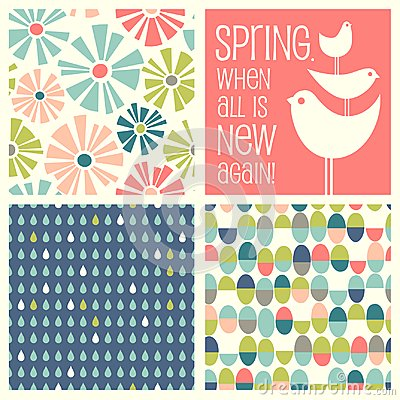 Free Retro Spring Designs And Seamless Patterns Stock Photos - 111270123
