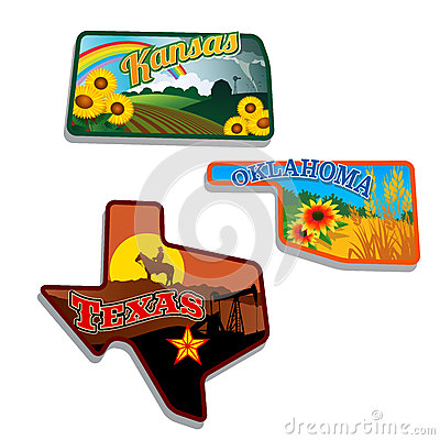 Free Retro State Shape Illustrations Of Kansas, Oklahom Stock Images - 32059944