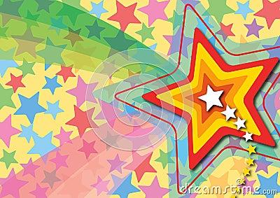 Retro stjärna för popregnbåge