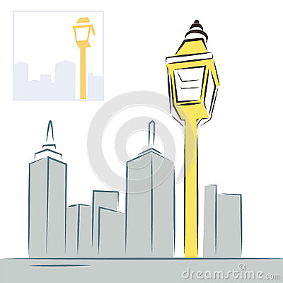 Retro street lantern and modern city skyline
