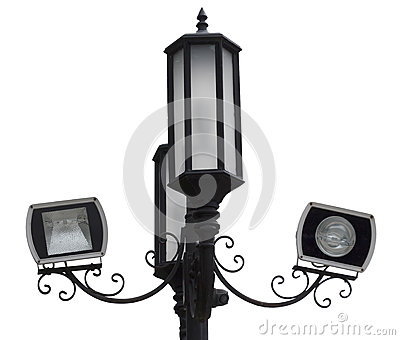 Retro streetlamp with camcorder isolated on white background