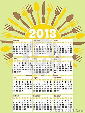 Retro style 2013 kitchen calendar