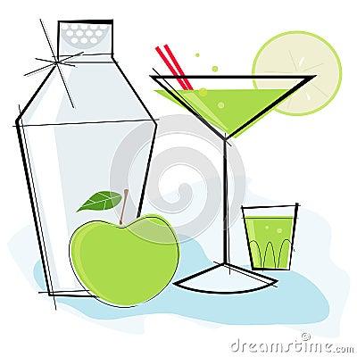Retro-style Apple Martini