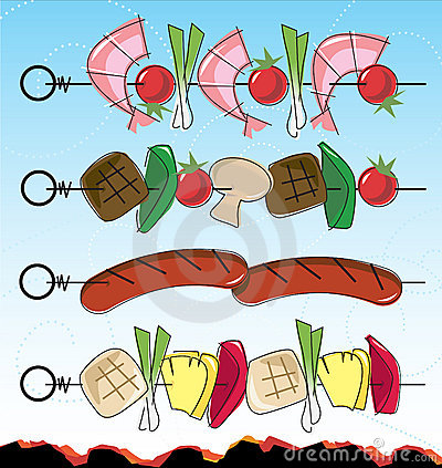 Free Retro-style BBQ Kebabs Stock Photo - 9083540