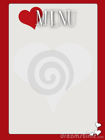 Retro style blank valentines menu