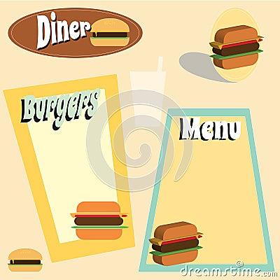 Retro style burger graphics