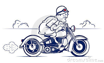 Retro style cartoon biker