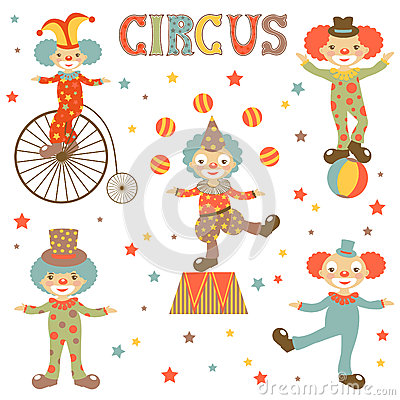 Retro style clowns collection