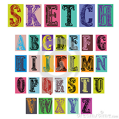 Retro style colorful sketch alphabet illustration