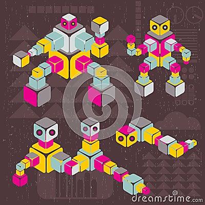 Retro style cube robots.