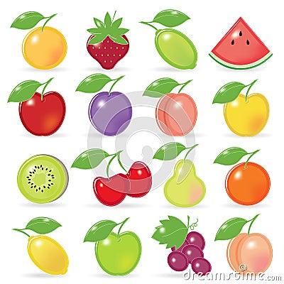 Retro-style Fruity Icons