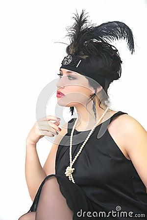 Retro style girl posing on white background